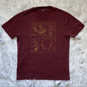 Banana Republic Men's Elk Antler Maroon T-Shirt Sm